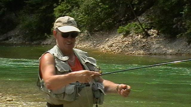 Hans beim Fliegenfischen in der Sava Bohinjka